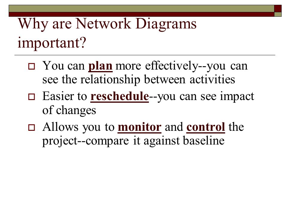 Why are Network Diagrams important? You can plan more effectively--you can see the relationship between activities Easier to reschedule--you can see i