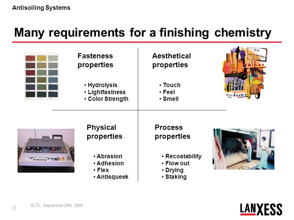 SLTC; September 26th, 2009 9 Antisoiling Systems print binder elasticity lowhigh flex General problem: if you optimize one of the properties, you are sacrifying others A lot of criteria are behaving complementary Challenge for chemistry: we have to look for the best compromise or for the application: we have to formulate around weaknesses