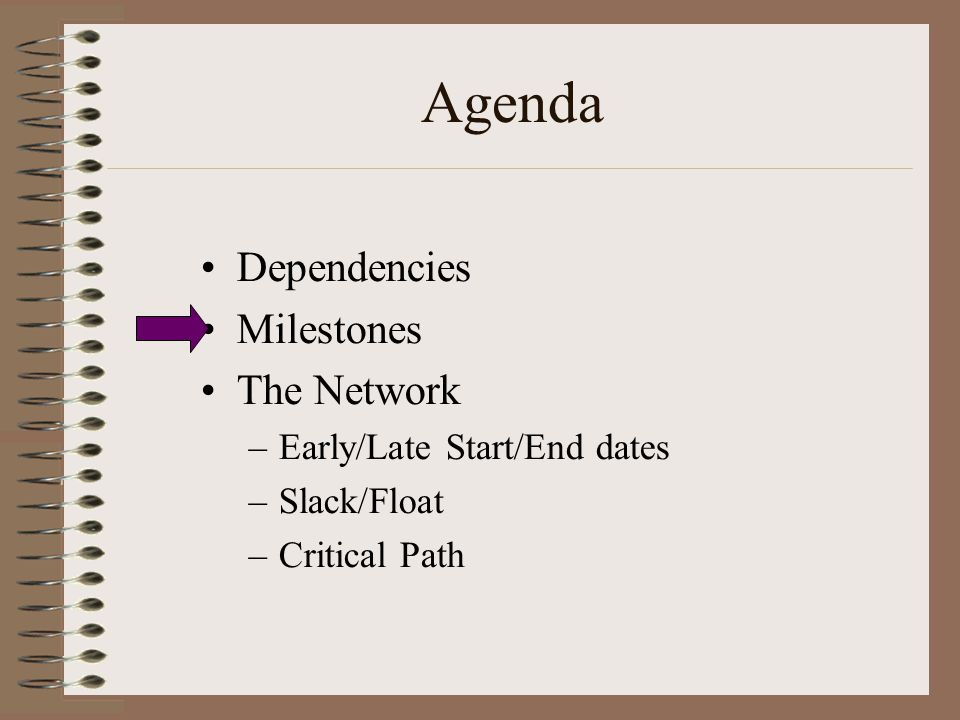 Agenda Dependencies Milestones The Network –Early/Late Start/End dates –Slack/Float –Critical Path