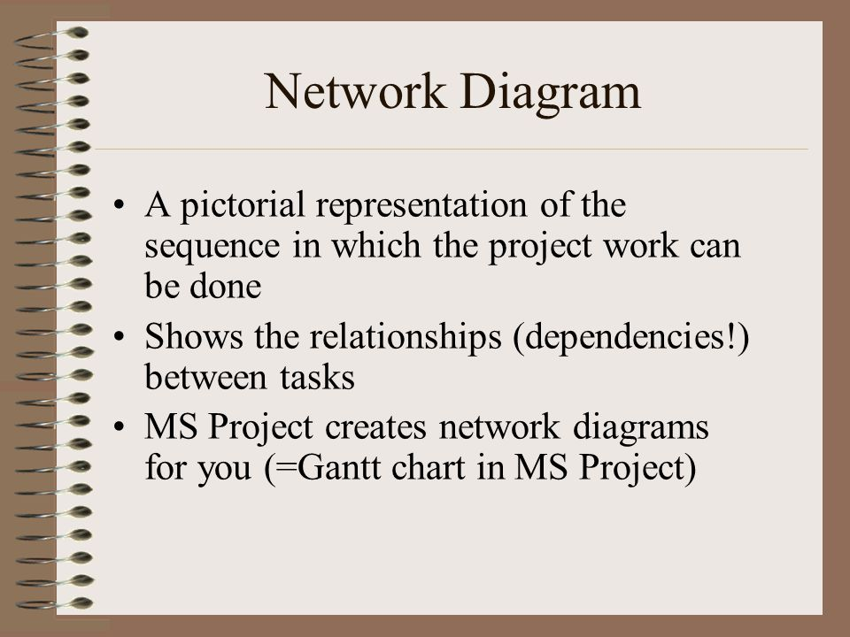 Network Diagram A pictorial representation of the sequence in which the project work can be done Shows the relationships (dependencies!) between tasks MS Project creates network diagrams for you (=Gantt chart in MS Project)