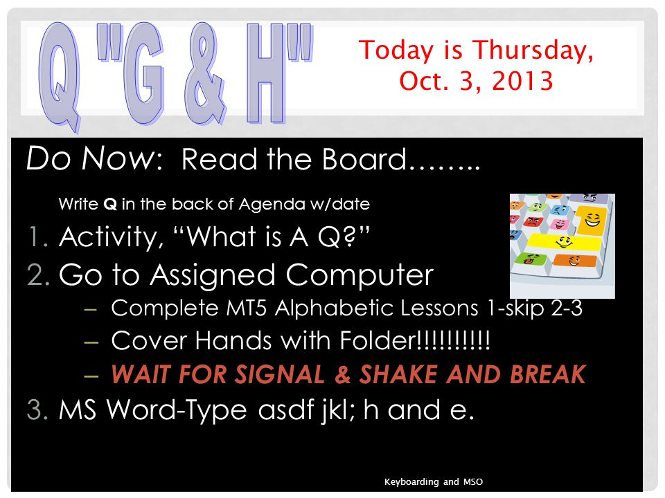 Do Now : Read the Board……..