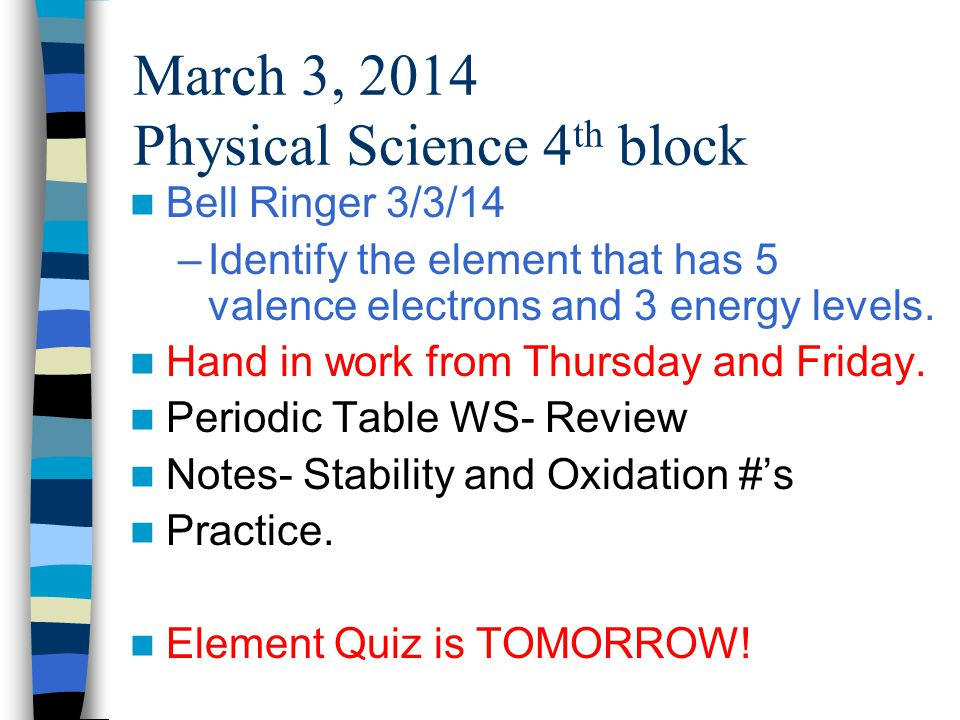 March 3, 2014 Physical Science 4 th block Bell Ringer 3/3/14 –Identify the element that has 5 valence electrons and 3 energy levels.