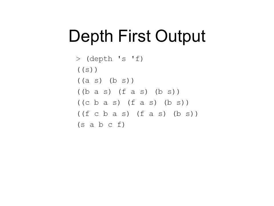 Depth First Output > (depth s f) ((s)) ((a s) (b s)) ((b a s) (f a s) (b s)) ((c b a s) (f a s) (b s)) ((f c b a s) (f a s) (b s)) (s a b c f)