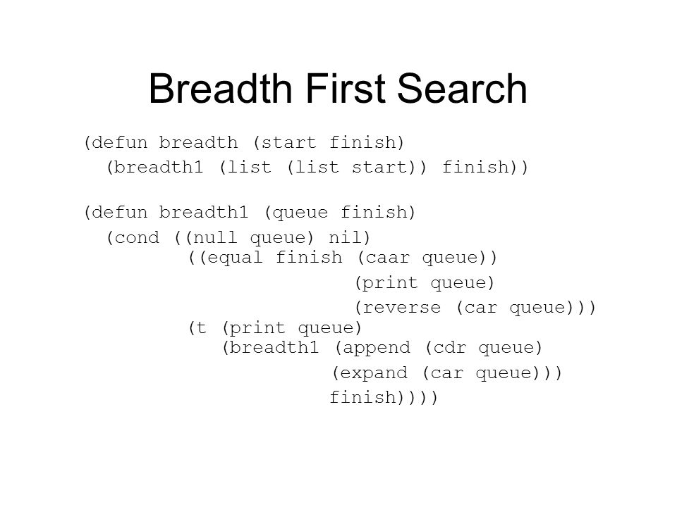 Breadth First Search (defun breadth (start finish) (breadth1 (list (list start)) finish)) (defun breadth1 (queue finish) (cond ((null queue) nil) ((equal finish (caar queue)) (print queue) (reverse (car queue))) (t (print queue) (breadth1 (append (cdr queue) (expand (car queue))) finish))))