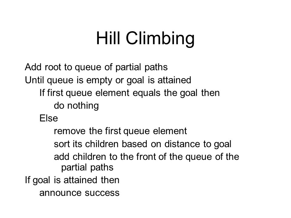 Hill Climbing Add root to queue of partial paths Until queue is empty or goal is attained If first queue element equals the goal then do nothing Else remove the first queue element sort its children based on distance to goal add children to the front of the queue of the partial paths If goal is attained then announce success