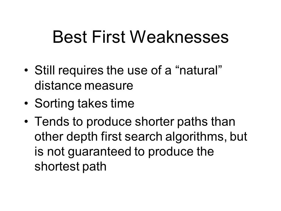 Best First Weaknesses Still requires the use of a natural distance measure Sorting takes time Tends to produce shorter paths than other depth first search algorithms, but is not guaranteed to produce the shortest path