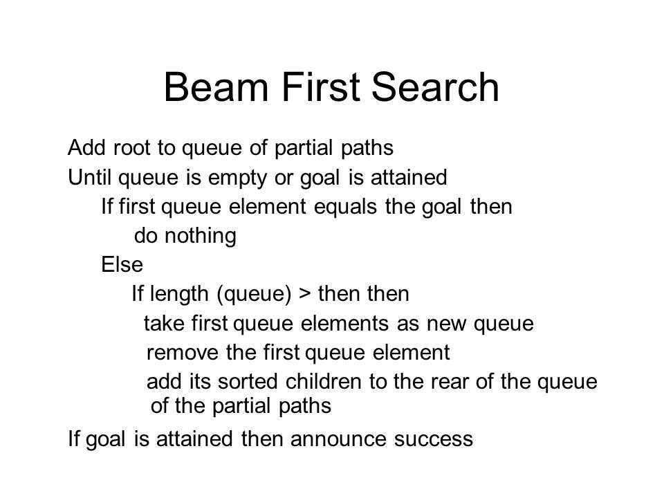 Beam First Search Add root to queue of partial paths Until queue is empty or goal is attained If first queue element equals the goal then do nothing E