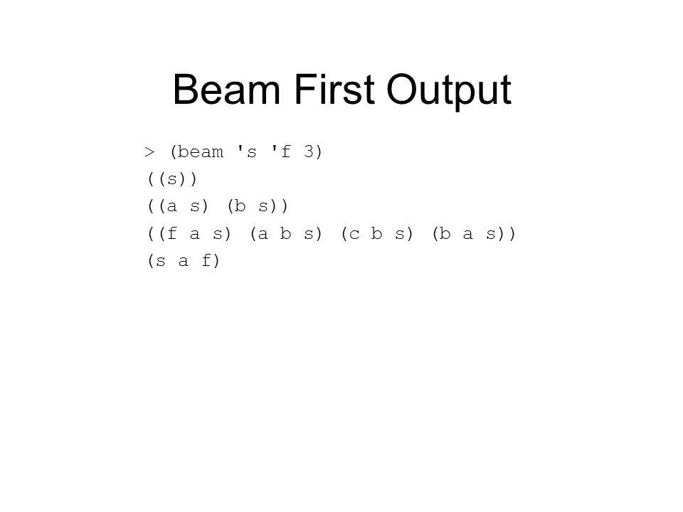 Beam First Output > (beam s f 3) ((s)) ((a s) (b s)) ((f a s) (a b s) (c b s) (b a s)) (s a f)