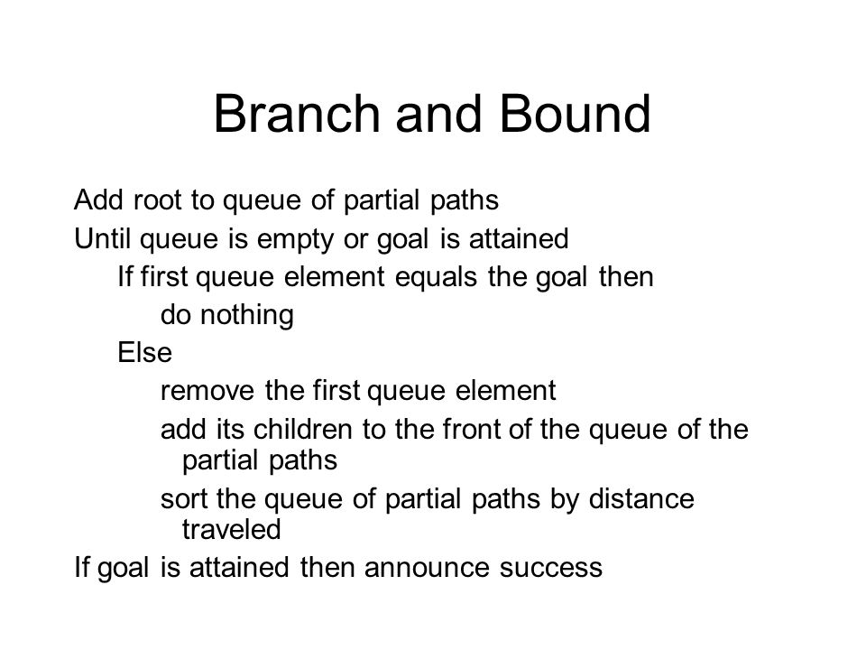 Branch and Bound Add root to queue of partial paths Until queue is empty or goal is attained If first queue element equals the goal then do nothing El