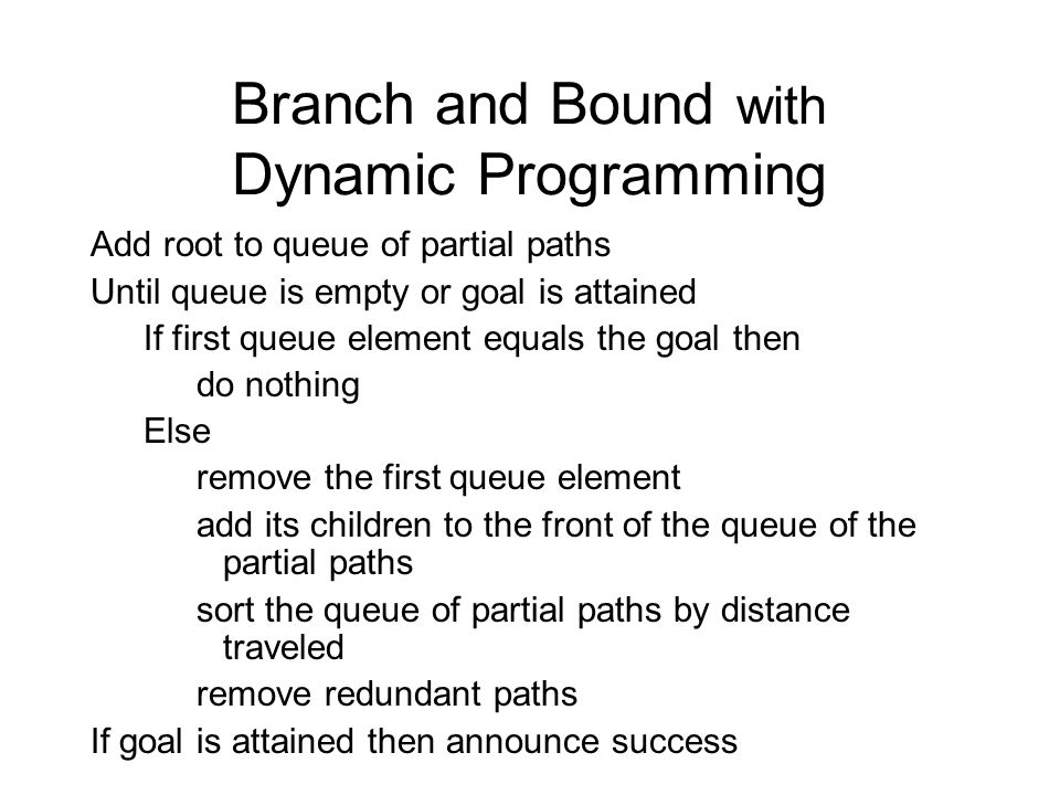 Branch and Bound with Dynamic Programming Add root to queue of partial paths Until queue is empty or goal is attained If first queue element equals the goal then do nothing Else remove the first queue element add its children to the front of the queue of the partial paths sort the queue of partial paths by distance traveled remove redundant paths If goal is attained then announce success