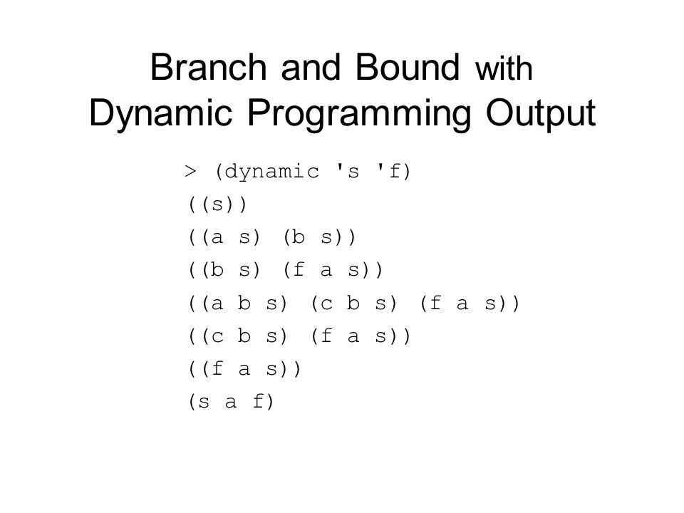 Branch and Bound with Dynamic Programming Output > (dynamic 's 'f) ((s)) ((a s) (b s)) ((b s) (f a s)) ((a b s) (c b s) (f a s)) ((c b s) (f a s)) ((f