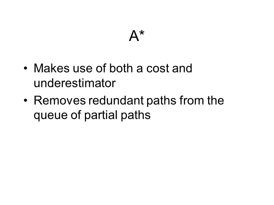 A* Makes use of both a cost and underestimator Removes redundant paths from the queue of partial paths