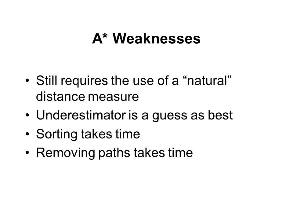 A* Weaknesses Still requires the use of a natural distance measure Underestimator is a guess as best Sorting takes time Removing paths takes time