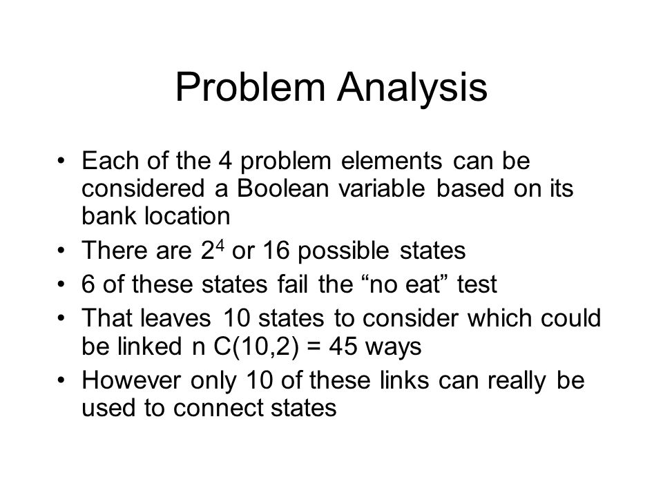 Problem Analysis Each of the 4 problem elements can be considered a Boolean variable based on its bank location There are 2 4 or 16 possible states 6