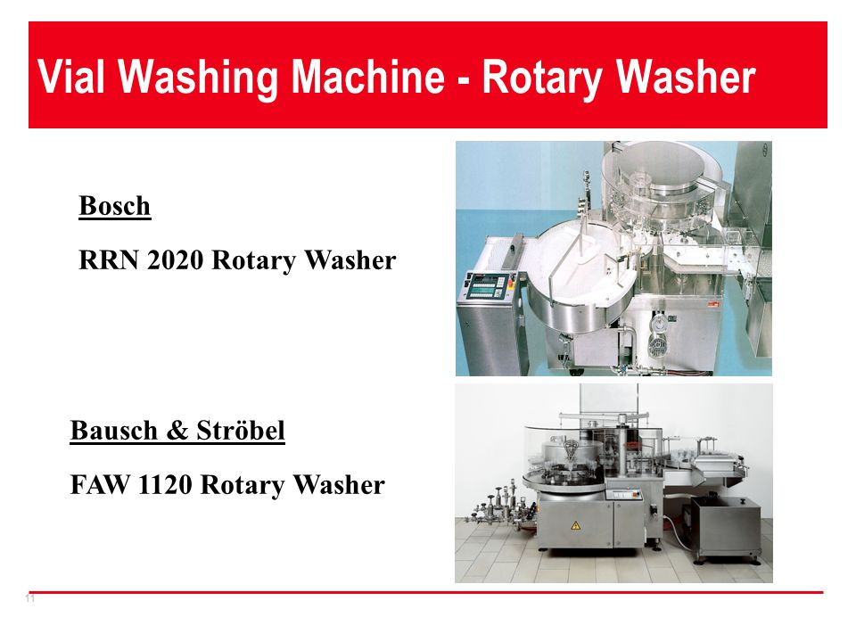 11 Vial Washing Machine - Rotary Washer Bosch RRN 2020 Rotary Washer Bausch & Ströbel FAW 1120 Rotary Washer