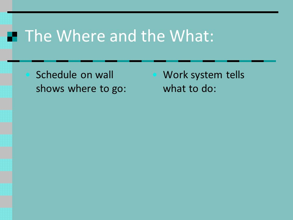 The Where and the What: Schedule on wall shows where to go: Work system tells what to do: