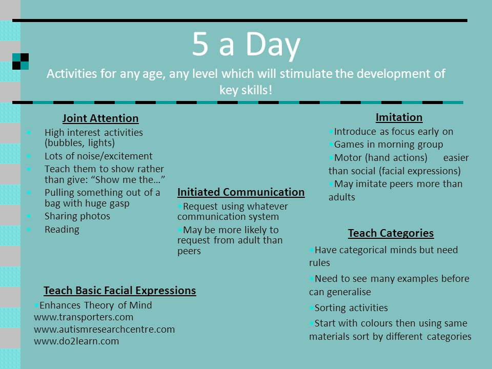 5 a Day Activities for any age, any level which will stimulate the development of key skills.