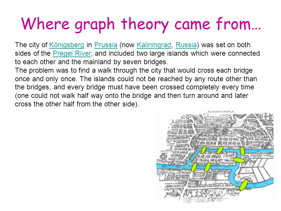 Where graph theory came from… The city of Königsberg in Prussia (now Kaliningrad, Russia) was set on both sides of the Pregel River, and included two