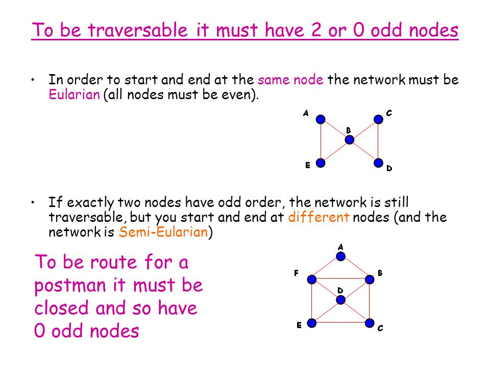 To be traversable it must have 2 or 0 odd nodes In order to start and end at the same node the network must be Eularian (all nodes must be even). If e