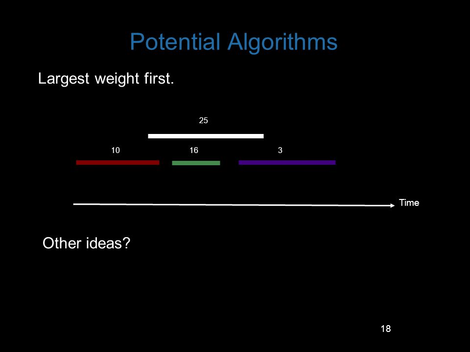 18 Potential Algorithms Largest weight first. Other ideas? Time 10 25 163