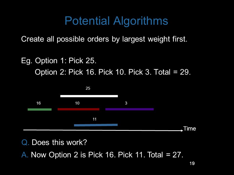 19 Potential Algorithms Create all possible orders by largest weight first. Eg. Option 1: Pick 25. Option 2: Pick 16. Pick 10. Pick 3. Total = 29. Tim