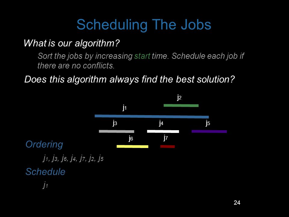 24 Scheduling The Jobs What is our algorithm? Sort the jobs by increasing start time. Schedule each job if there are no conflicts. j1j1 j2j2 j3j3 j4j4