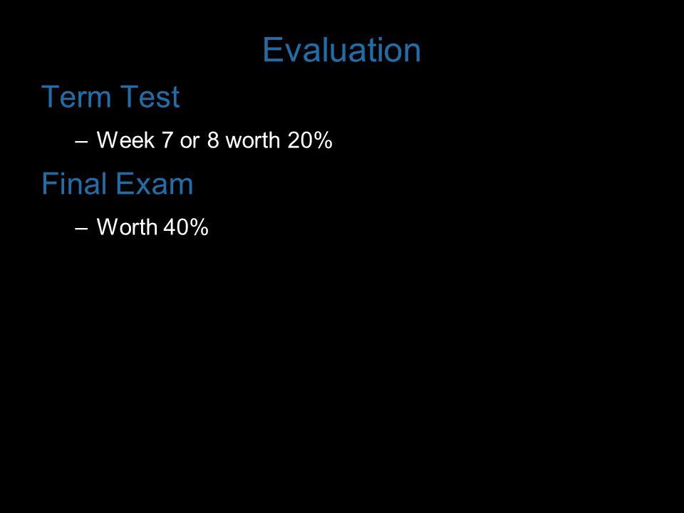 Evaluation Term Test –Week 7 or 8 worth 20% Final Exam –Worth 40%