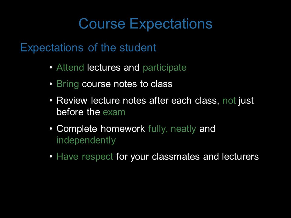 Course Expectations What does neatly mean.
