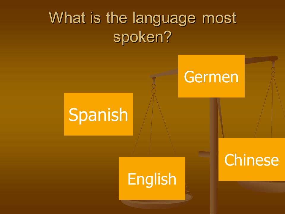 What is the language most spoken Spanish Germen English Chinese