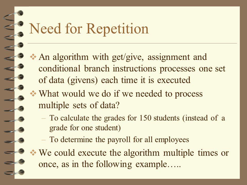 Algorithm 3.1 (b) Name: SUM100 Givens: N Change: None Results: Total Intermediates: Count Definition: Total := SUM100(N) Method Let Total = 0 Let Count = 0 Loop Get N Let Total = Total + N Let Count = Count + 1 Finish Loop When (Count = 100) Give Total Write an algorithm to find the sum of 100 numbers.