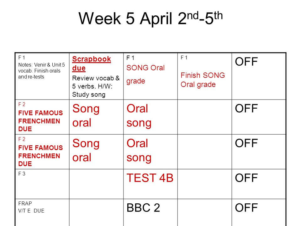 6 th week April 10 th -13 th OFF F 1 Group work Games F 1 Group work and games F 1 Movie Family tree oral poster due Monday.