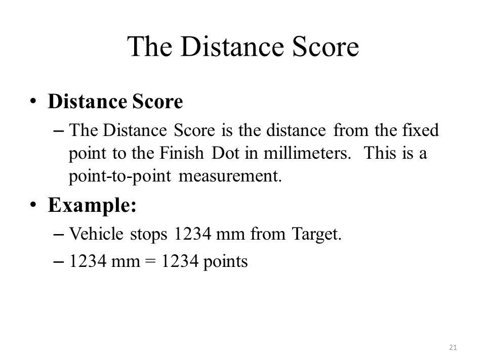 The Distance Score Distance Score – The Distance Score is the distance from the fixed point to the Finish Dot in millimeters.