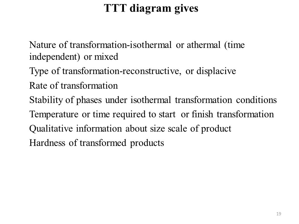 TTT diagram gives Nature of transformation-isothermal or athermal (time independent) or mixed Type of transformation-reconstructive, or displacive Rate of transformation Stability of phases under isothermal transformation conditions Temperature or time required to start or finish transformation Qualitative information about size scale of product Hardness of transformed products 19