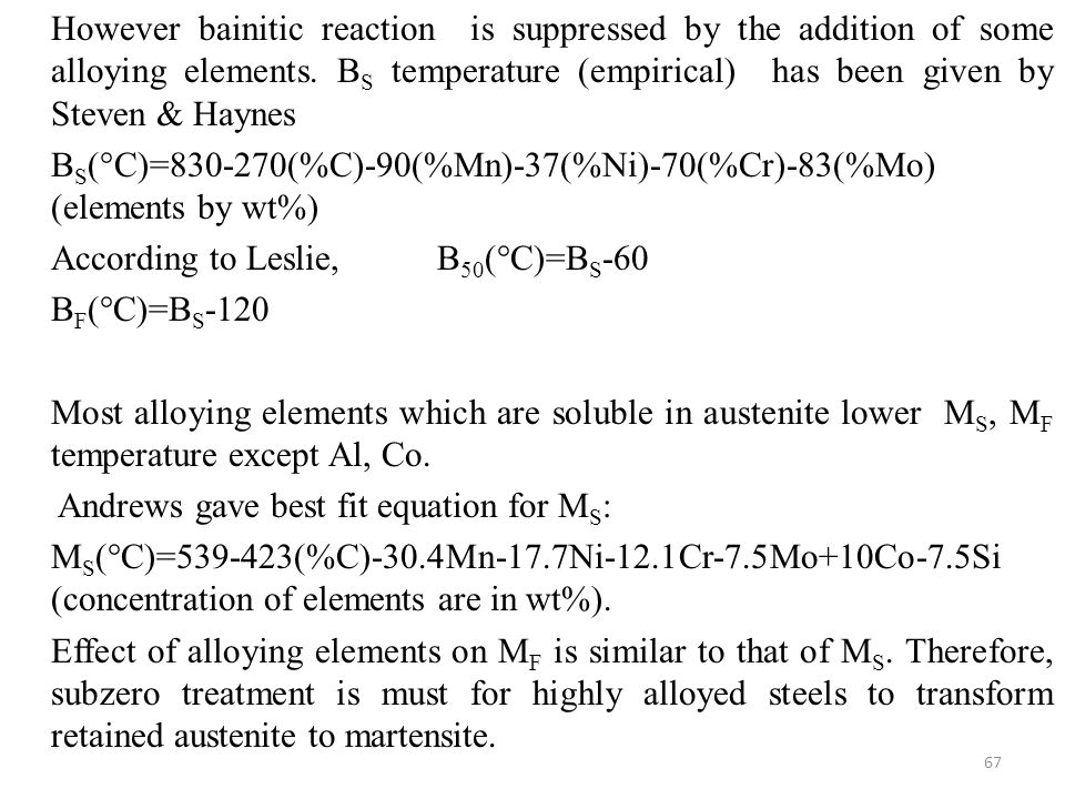 However bainitic reaction is suppressed by the addition of some alloying elements.
