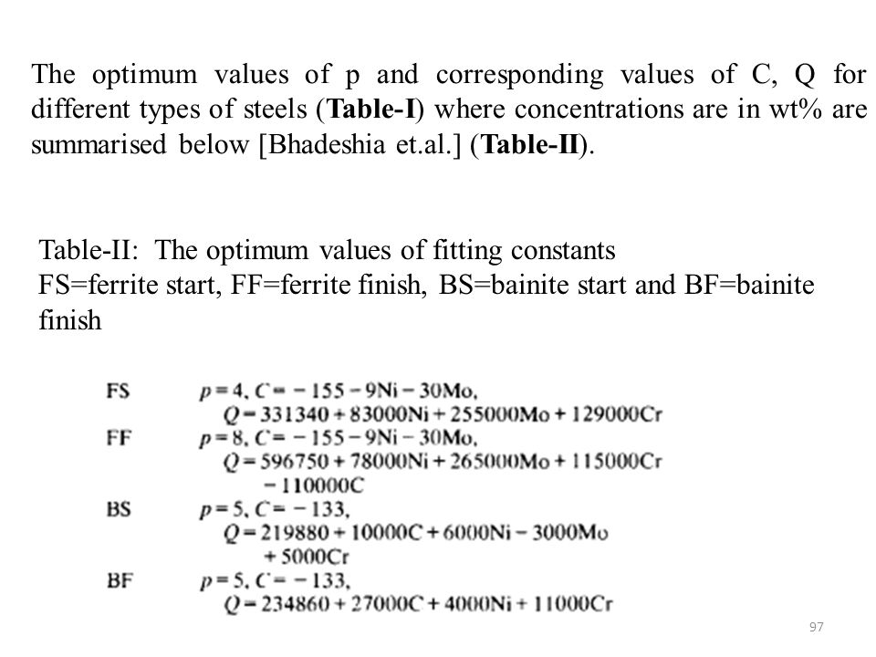 The optimum values of p and corresponding values of C, Q for different types of steels (Table-I) where concentrations are in wt% are summarised below [Bhadeshia et.al.] (Table-II).