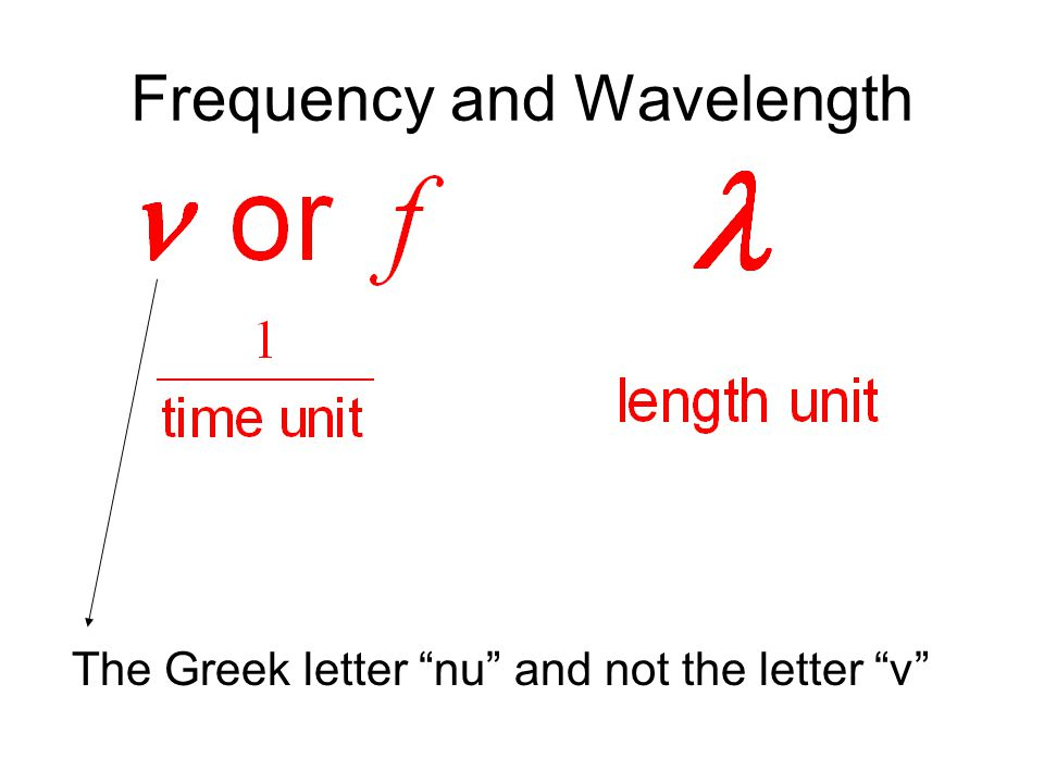 Frequency and Wavelength The Greek letter nu and not the letter v