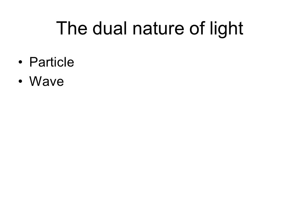 The dual nature of light Particle Wave