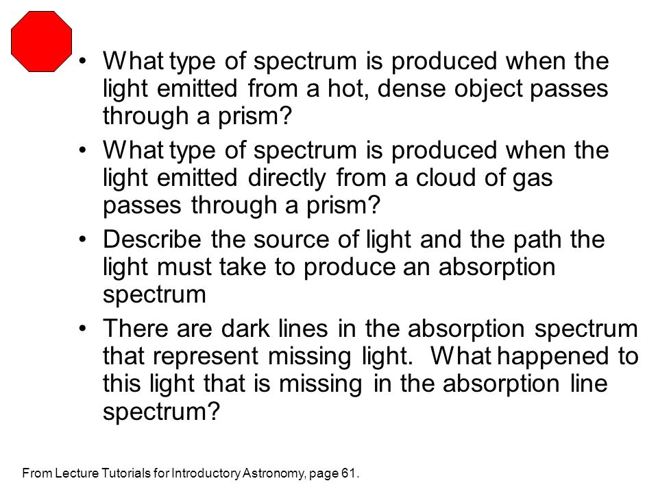 What type of spectrum is produced when the light emitted from a hot, dense object passes through a prism? What type of spectrum is produced when the l