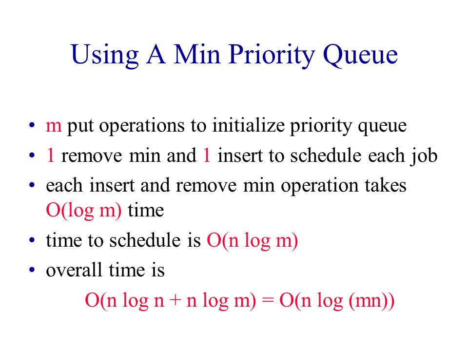 Using A Min Priority Queue Min priority queue has the finish times of the m machines.