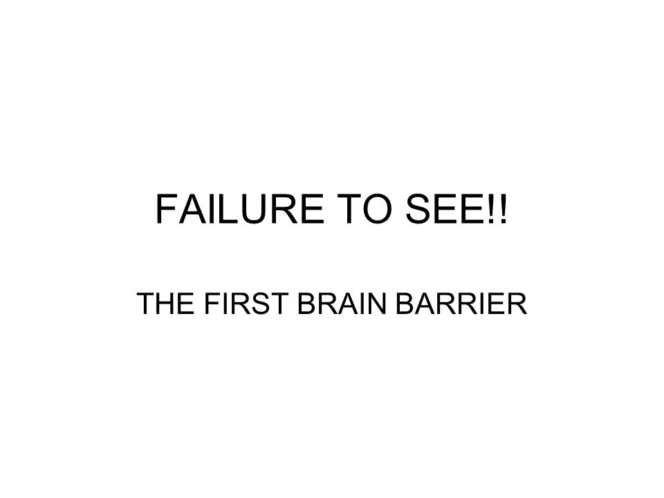 FAILURE TO SEE!! THE FIRST BRAIN BARRIER