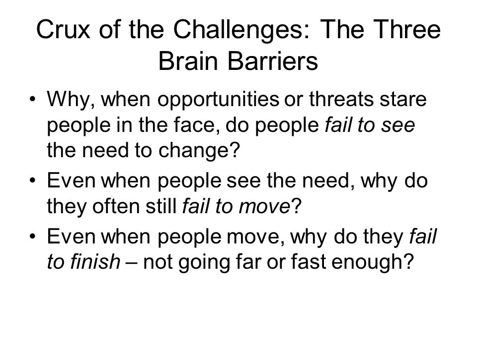 Done Well Done Poorly Right Thing Wrong Thing STRATEGIC CHANGE MATRIX: THE THREE BARRIERS Stage 1 Stage 2 Stage 3 See.