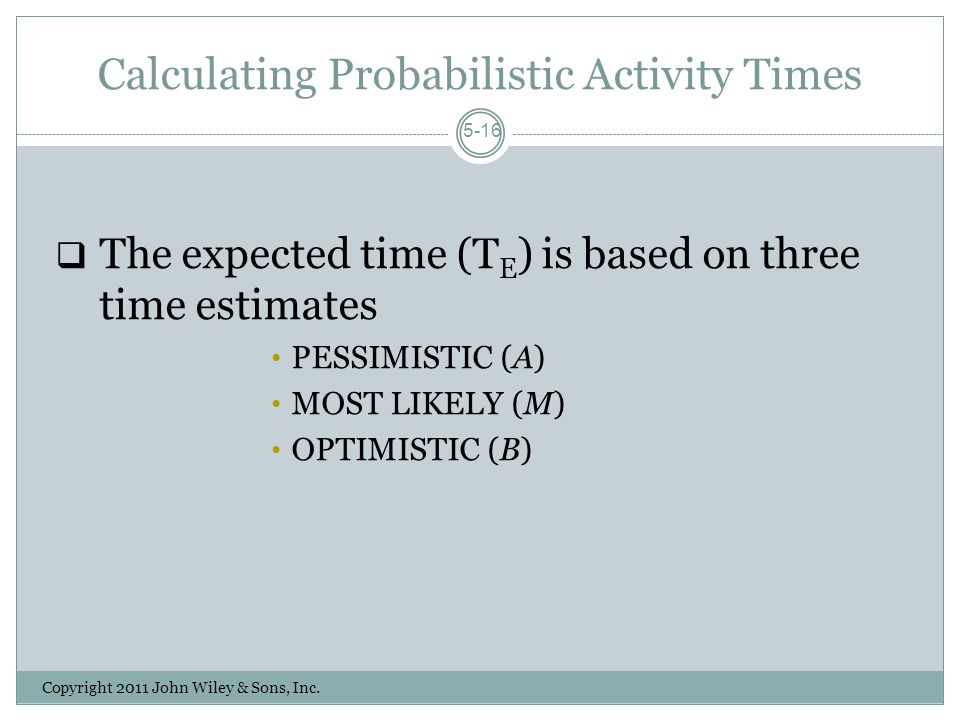 Calculating Probabilistic Activity Times Copyright 2011 John Wiley & Sons, Inc.