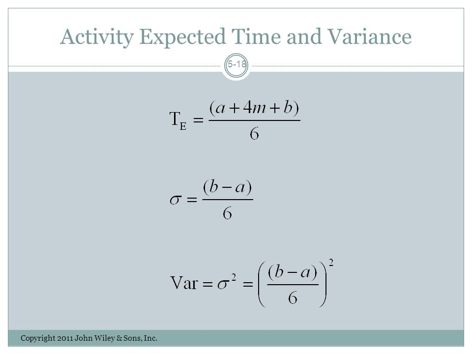 Activity Expected Time and Variance Copyright 2011 John Wiley & Sons, Inc. 5-18