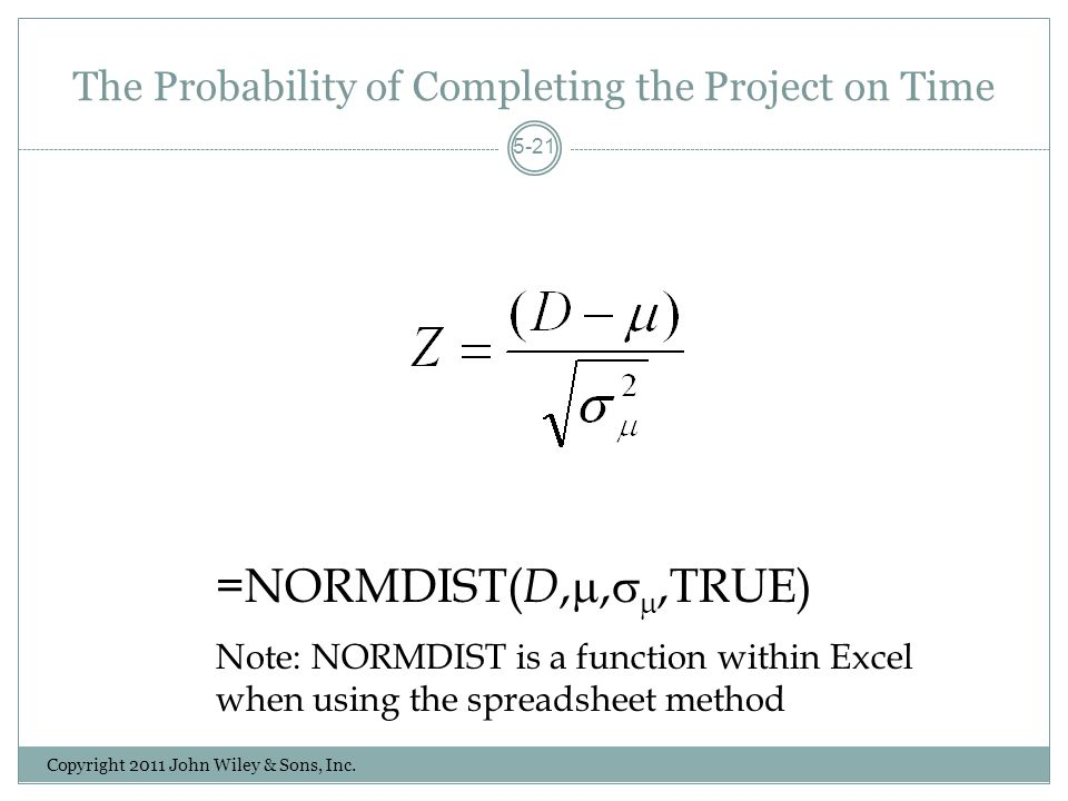 The Probability of Completing the Project on Time Copyright 2011 John Wiley & Sons, Inc.