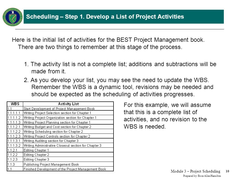 10 Prepared by: Booz Allen Hamilton Module 3 – Project Scheduling Scheduling – Step 1. Develop a List of Project Activities Here is the initial list o