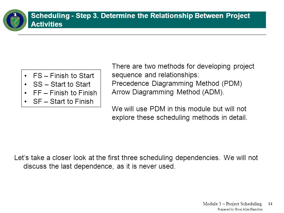 14 Prepared by: Booz Allen Hamilton Module 3 – Project Scheduling Scheduling - Step 3. Determine the Relationship Between Project Activities Lets take