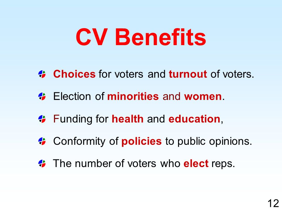 Choices for voters and turnout of voters. Election of minorities and women.
