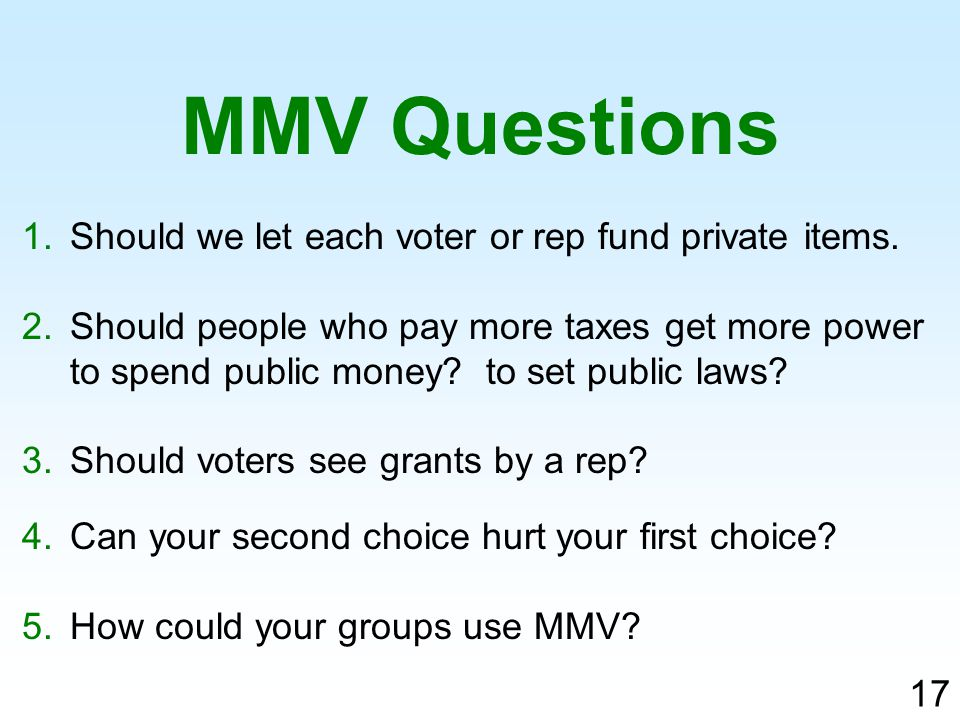 1.Should we let each voter or rep fund private items.