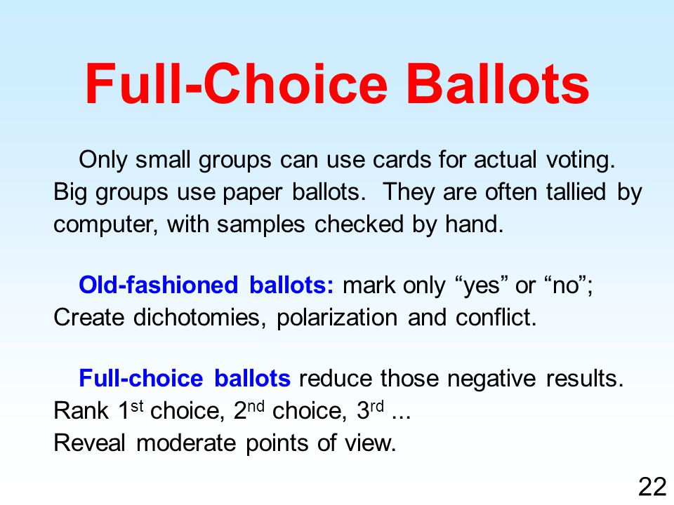 Only small groups can use cards for actual voting.