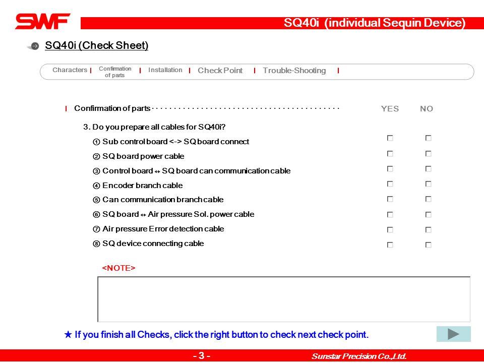 SQ40i (individual Sequin Device) Installation method · · · · · · · · · · · · · · · · · · · · · · · · · · · · · · · · · · · · · · · · · · · · YES NO - 14 - Sunstar Precision Co.,Ltd.